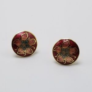 Vintage Cloisonne Earrings Flower Earrings Studs